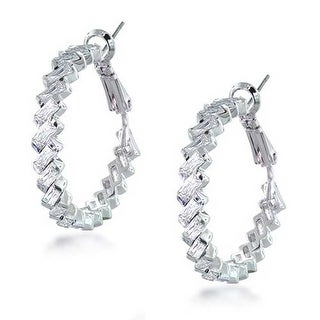 Bling Jewelry Clear CZ Baguette Bridal Hoop Earrings Rhodium Plated Brass
