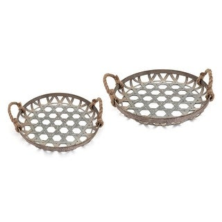 """Set of 2 Distressed Gray Circular Galvanized Baskets with Handle 17.5"""""""