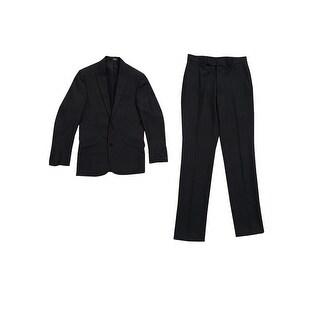 Kenneth Cole Reaction Men's Black Micro-Stripe Slim-Fit Suit (36R x W29, Black) - 36r w29