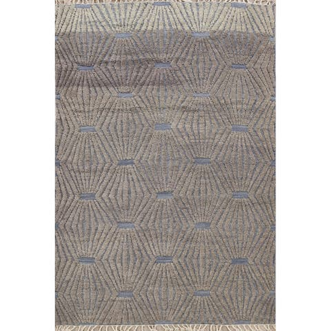"""Geometric Moroccan Oriental Area Rug Wool Hand-Knotted Office Carpet - 5'7"""" x 8'0"""""""