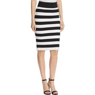 MICHAEL Michael Kors Womens Straight Skirt Striped Textured B/W 2