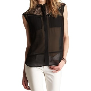 Kenneth Cole New York Womens Bernia Blouse Sheer Sleeveless - l