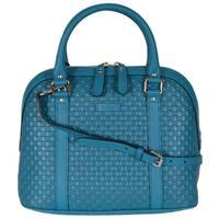"Gucci 449663 Cobalt Leather Medium Convertible Micro GG Dome Satchel Purse - 12"" (w) x 10"" (h) x 6"" (d)"