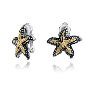 Bling Jewelry Starfish Two Tone Gold Plated Alloy Textured Clip On Earrings