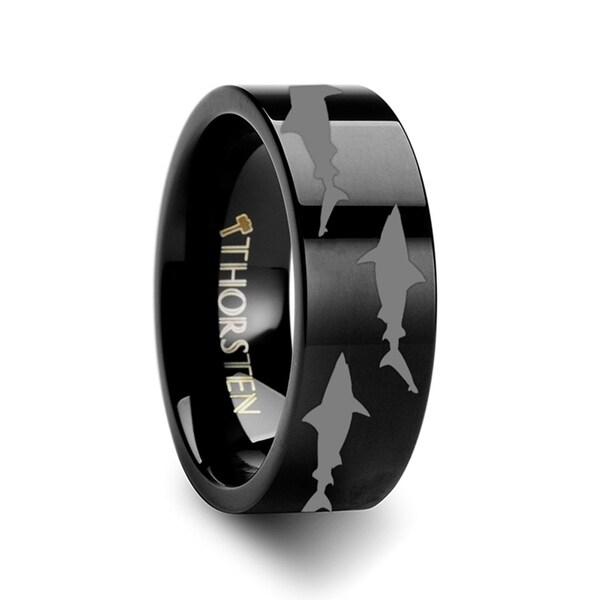 THORSTEN - Shark Predator Fish Sea Print Pattern Ring Engraved Flat Black Tungsten Ring - 4mm