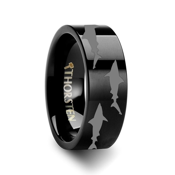 THORSTEN - Shark Predator Fish Sea Print Pattern Ring Engraved Flat Black Tungsten Ring - 6mm