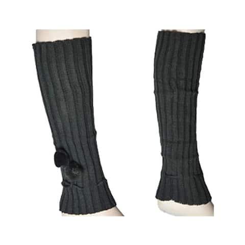 Women's Hunter Green Solid Color Knit Leg Warmer w/Pom-Pom Accents LW1020