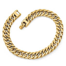 Italian 14k Gold Polished Men's Bracelet - 8 inches