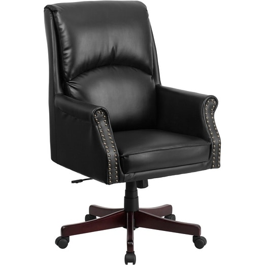 Silkeborg High Back Pillow Back Black Leather Stylish Executive Swivel Chair w/Arms