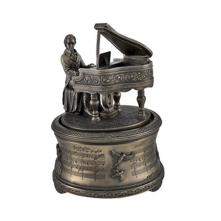 Bronzed Mozart Playing Piano Spinning Music Box