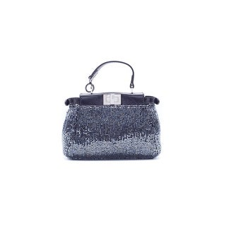 Fendi Women's Black Embellished Micro Peekaboo Shoulder Bag