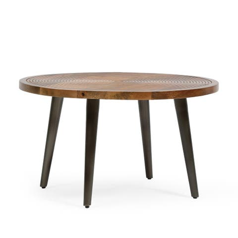 """Larslan Boho Industrial Handcrafted Mango Wood Coffee Table by Christopher Knight Home - 27.50"""" L x 27.50"""" W x 15.75"""" H"""