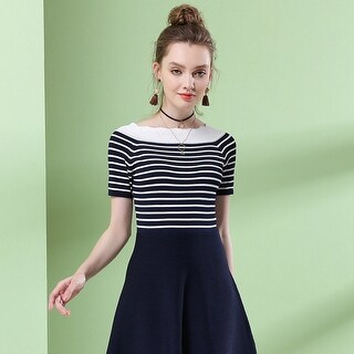 Link to Striped Knitted Dress, One Word Collar, Waist A, Skirt, Skirt. Similar Items in Skirts
