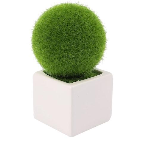 Unique Bargains Home Office Plastic Solid Round Ball Shaped Plant Pot Bonsai Table Decoration