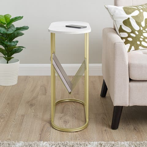 Silver Orchid Oblong Magazine Rack Side Table