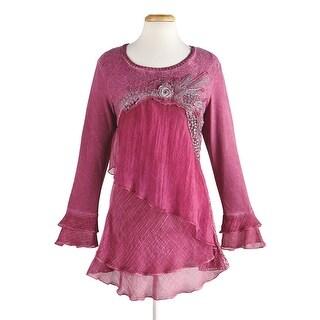 Radzoli Women's Shimmer Rose Tunic Top - Ruffled Long Sleeve Shirt with Flower