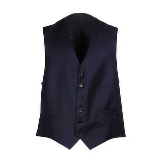 Hardy Amies London Wool Vest 40 Regular Navy Blue Adjustable Button-Front
