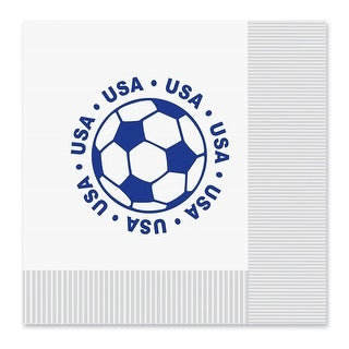 "Club Pack of 192 White and Blue 2-Ply ""USA"" Soccer Ball Paper Party Lunch Napkins 6.5"""