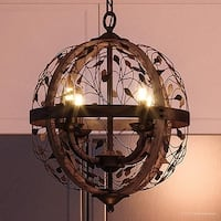 """Luxury Art Nouveau Chandelier, 21""""H x 16""""W, with Organic Style, Walnut Stained Wood, Midnight Bronze Finish"""