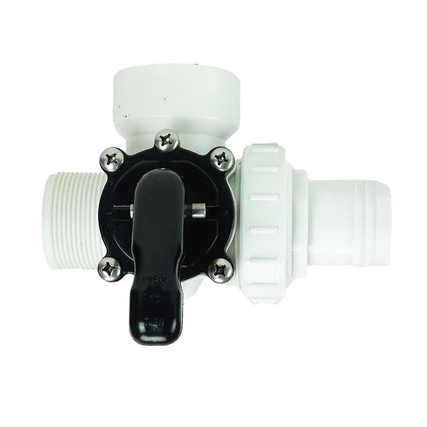 """6.25"""" White HydroTools Swimming Pool and Spa Standard Right Outlet 3-Way Valve - N/A"""