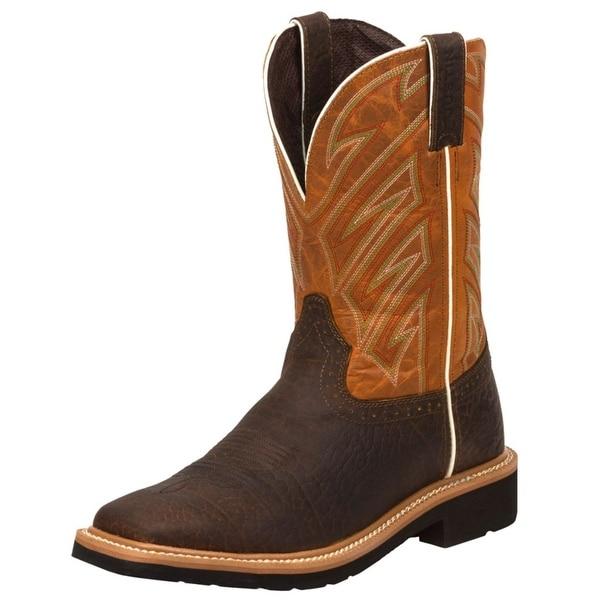 Justin Work Boots Mens Western Square Steel Toe Dark Chestnut WK4561