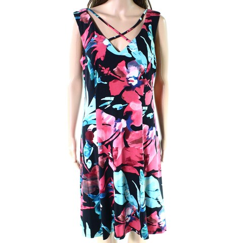 Connected Apparel Black Womens Size 14 X-Front Floral Shift Dress