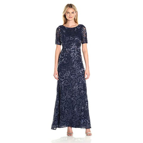 Adrianna Papell Stretch Sequin Tulle Gown, Midnight, 8