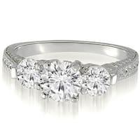 0.85 cttw. 14K White Gold Antique Three-Stone Round Diamond Engagement Ring