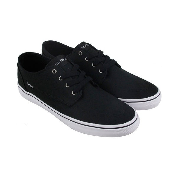 3099279be Shop Tommy Hilfiger Payton Mens Black Canvas Lace Up Sneakers Shoes ...