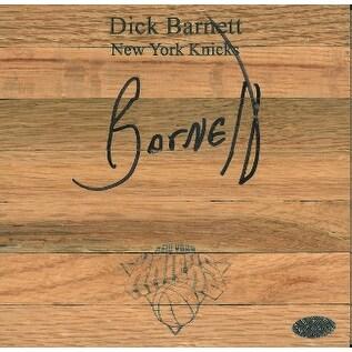 Dick Barnett signed New York Knicks Floor Board 6x6