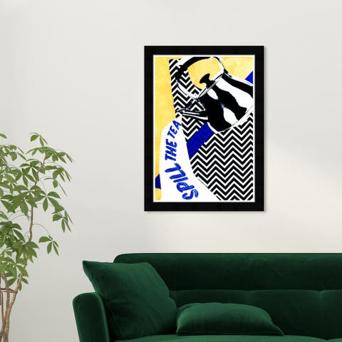 Wynwood Studio 'Spill the Tea' Typography and Quotes Yellow Wall Art Framed Print