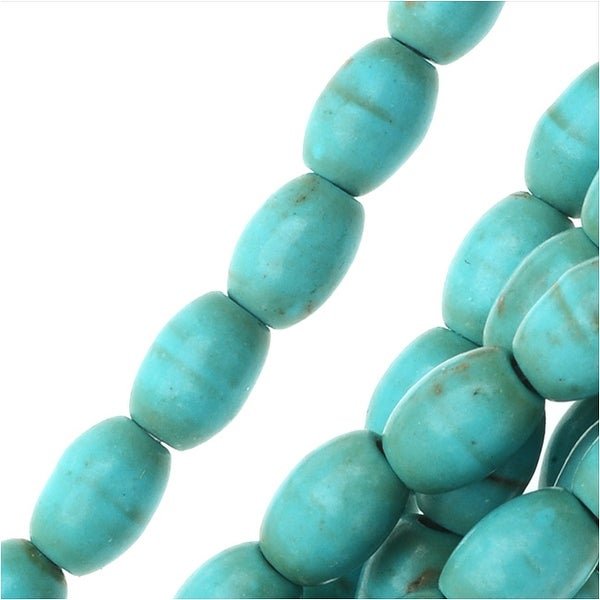Turquoise Gemstone Beads, Barrels 4.5x6.5mm, 15.5 Inch Strand, Aqua Blue