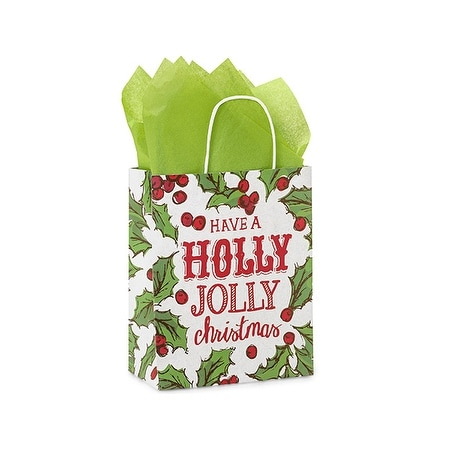 """Pack of 25, Cub Holly Berry Tidings Paper Bags 8 x 4.75 x 10.25"""" For Christmas Packaging, 100% Recyclable,"""