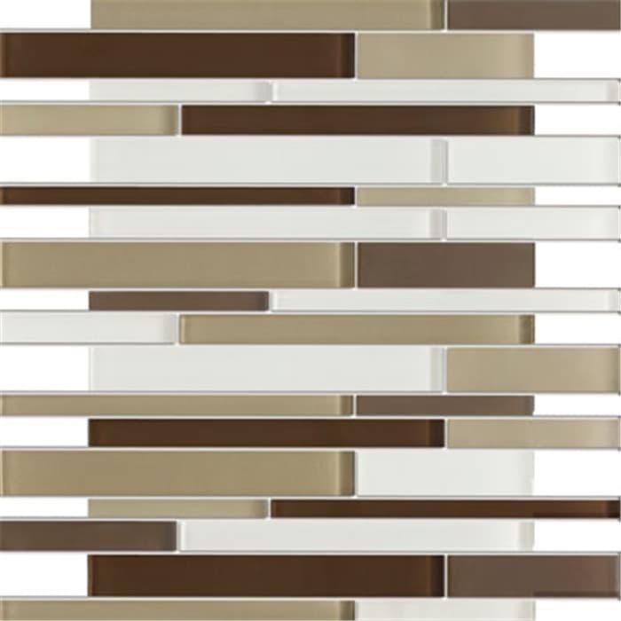 TileGen. Brick Random Sized Glass Mosaic Tile in Green/White Wall Tile (10 sheets/10.4sqft.) (Sample)