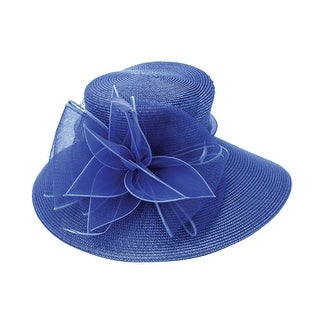 ChicHeadwear Womens Wide Brim Braid Hat w/ Ribbon and Drawstring - One size