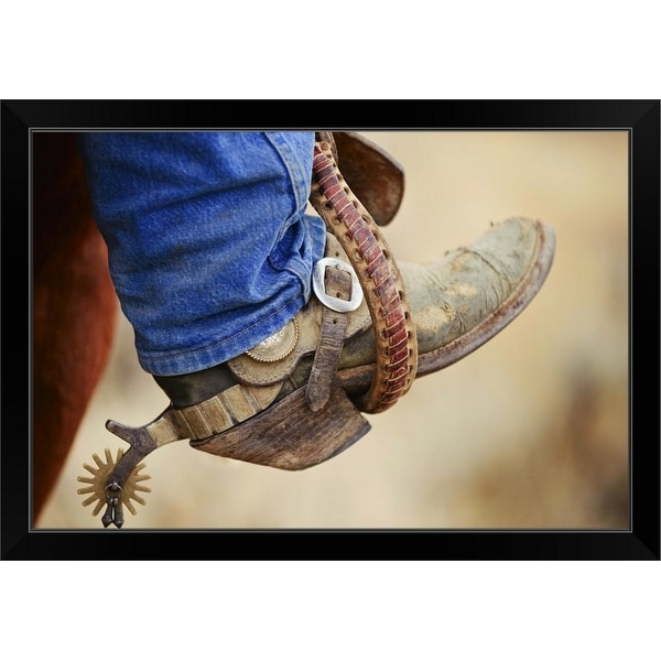 """Cowboy Boot With Spur"" Black Framed Print"
