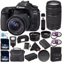 Canon EOS 80D DSLR Camera with 18-55mm Lens 1263C005 (International Version) + Canon EF 75-300mm f/4-5.6 III Lens Bundle