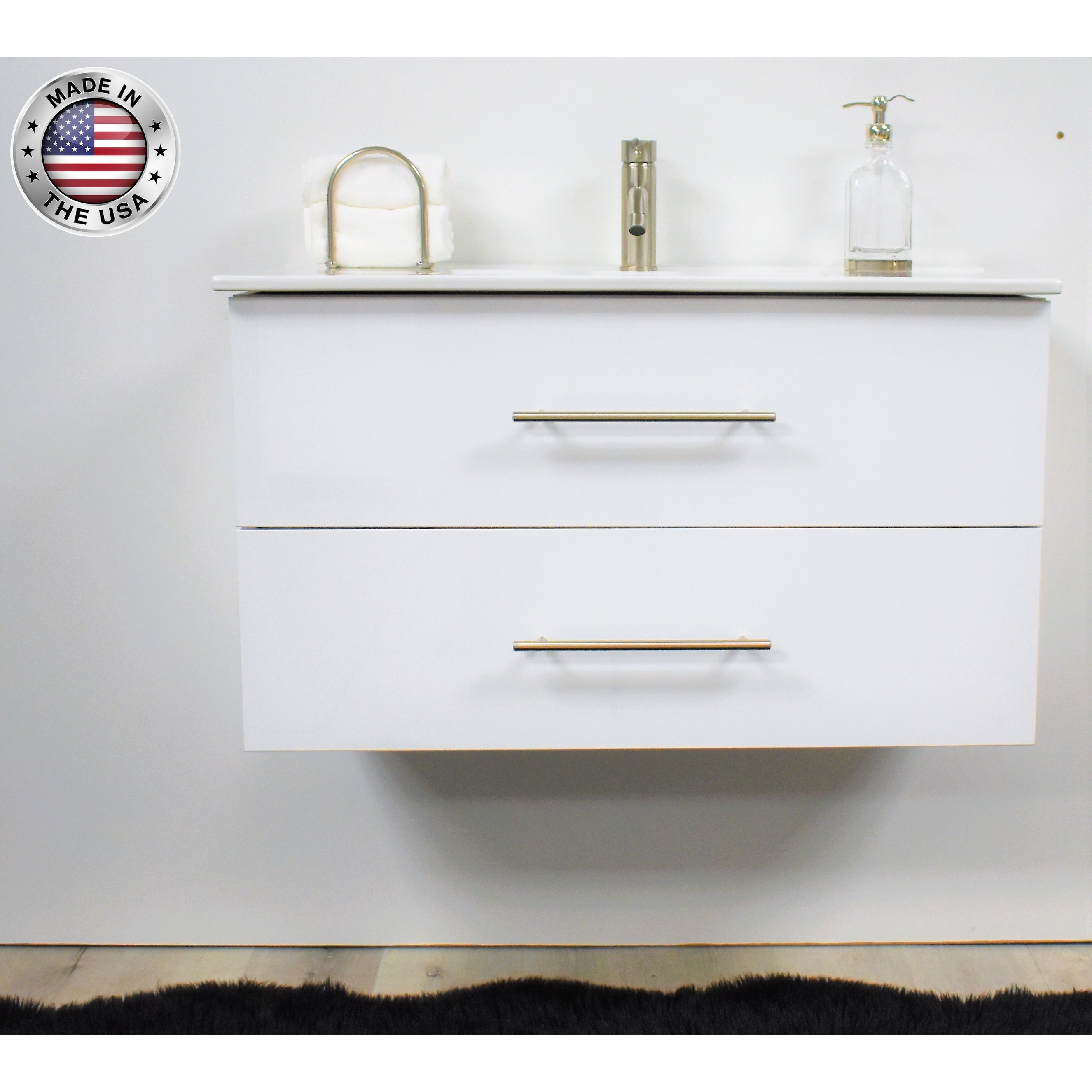 Volpa Usa Napa 30 Inch Glossy White Wall Mounted Floating Bathroom Vanity Set Overstock 32207291