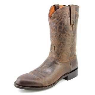Lucchese Chocolate Madras Goat Roper 2E Round Toe Leather Western Boot