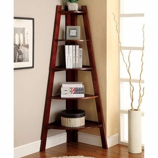 Contemporary Ladder Shelf In Cherry Finish
