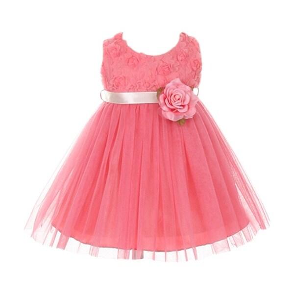 Baby Girls Coral Chiffon Rosebud Applique Bodice Tulle Flower Girl Dress 6-24M