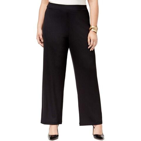 Kasper Black Women's Size 2X Plus Pull-On Wide-Leg Knit Dress Pants