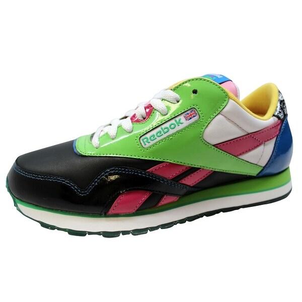 Reebok Men's CL Nylon RBC Patent Black/Hot Green-Pink-Blue 1-170383 Size 8