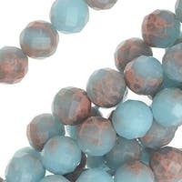 Impression Jasper Gemstone, Faceted Round Beads 8mm, 16 Inch Strand, Light Blue