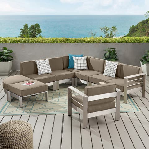 Cape Coral Half Round 6 Seater Sectional Set with Ottoman by Christopher Knight Home