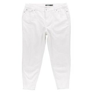 Lauren Ralph Lauren Womens Plus Skinny Jeans Cropped Frayed Hem