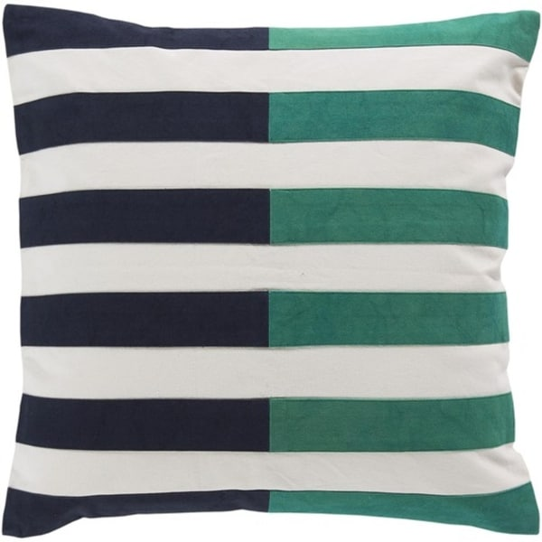 """22"""" White, Navy Blue and Green Striped Decorative Square Throw Pillow - Down Filler"""