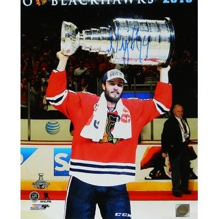 Niklas Hjalmarsson Chicago Blackhawks 2015 Stanley Cup Holding Trophy 16x20 Photo