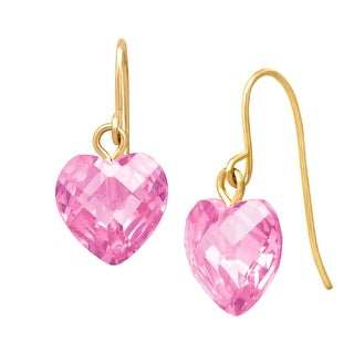 Pink Cubic Zirconia Heart Drop Earrings in 10K Gold