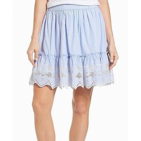 Caslon Striped Eyelet Women's Petite A-Line Cotton Skirt